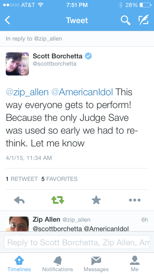 Borchetta pretty much admitting the Twitter Fan Save wasn't part of the original rules.